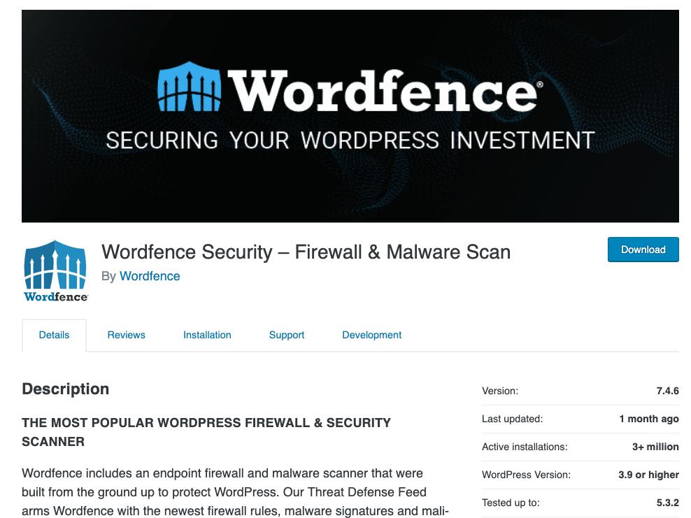 Wordfence Security – Firewall & Malware Plugin