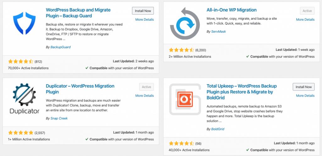 WordPress Backup and Migrate Plugin